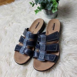 Clark's Blue Leisa Slide Slip On Leather Sandals